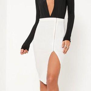 Missguided White Velvet Zip Through Midi Skirt
